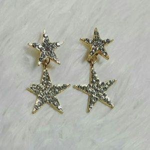 Starry Dangle Earrings-Gold Tone